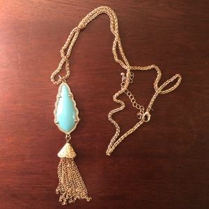 Long Teal/Aqua/Blue and gold long necklace!